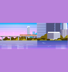 modern city panorama with urban skyscrapers and vector image vector image
