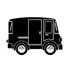 Monochrome silhouette with transport van with vector
