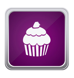 Purple emblem muffin icon vector