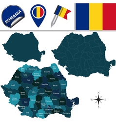 Romania map with named divisions vector image