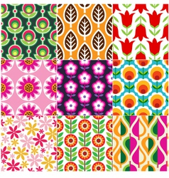 seamless retro flower pattern vector image
