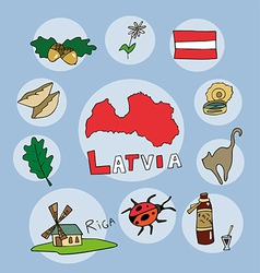 Set of national profile of the latvia vector