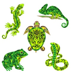 set of reptiles green vector image vector image