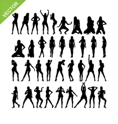 Sexy women and dancing silhouettes set 15 vector image