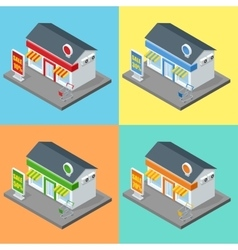 Shop supermarket exterior shops stores and vector