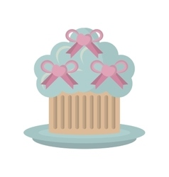Sweet cupcake with bow heart wedding vector