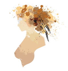 The woman portrait in profile with stains vector