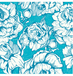 vintage pink botanical seamless pattern with peony vector image