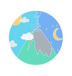 Volcano doodle icon vector