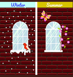 windows on red brick wall building winter and vector image vector image