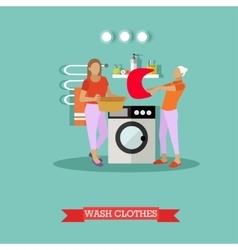 Women wash clothes in washing machine vector