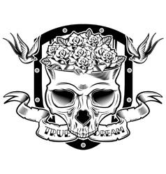 Skull In Flowers Tattoo Design vector image