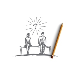 Hand drawn couple sitting on bench space between vector image