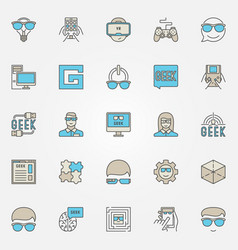 Colorful geek icons set vector