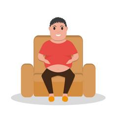 Cartoon fat man sitting in a armchair vector