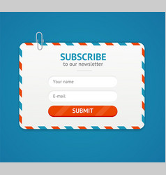 subscribe to newsletter form vector image