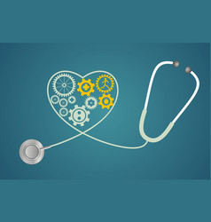 Stethoscope in the shape of a heart with gears vector