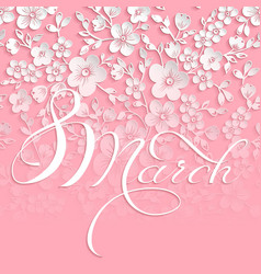Elegant greeting card 8 march vector