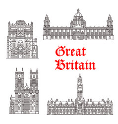 Architecture landmarks of great britain vector