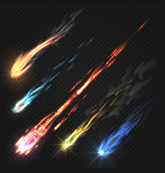 Sky comets and meteorite rocket trails isolated vector