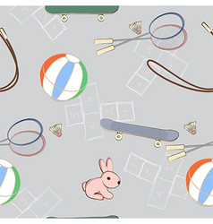 Sporting equipment with a little pink rabbit vector