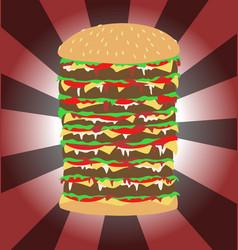 Tall burger art vector