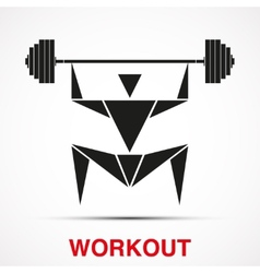 Workout logo with triangle man vector
