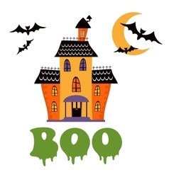 Boo card with haunted house vector