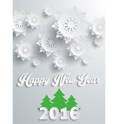 Happy new year 2016 banner with tree vector