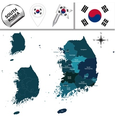 South korea map with named divisions vector