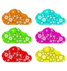 Colored clouds with floral design vector