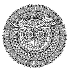 Birds theme owl black and white mandala with vector
