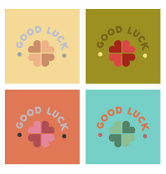 Assembly flat icons poker good luck clover vector