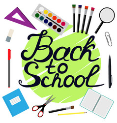 back to school design set of school supplies with vector image vector image