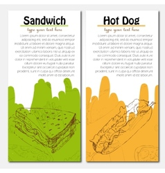 Banners of fast food design with hot dog and vector image vector image