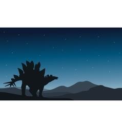 Beautiful silhouette stegosaurus vector
