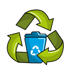 Can trash inside of recycling symbol vector
