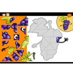 Cartoon grapes jigsaw puzzle game vector