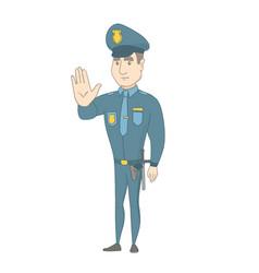 Caucasian policeman showing stop hand gesture vector
