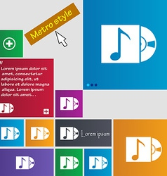 Cd player icon sign metro style buttons modern vector