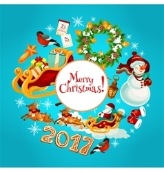 Christmas new year winter holidays poster design vector