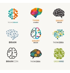 Collection of brain creation idea icons and vector