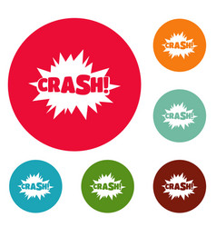Comic boom crash icons circle set vector