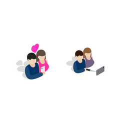 couple icon set isometric style vector image