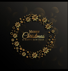 Dark background with golden snowflakes decoration vector