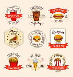 fast food restaurant menu icons vector image vector image