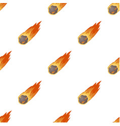 Flame meteorite icon in cartoon style isolated on vector