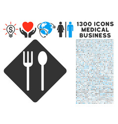fork and spoon icon with 1300 medical business vector image vector image