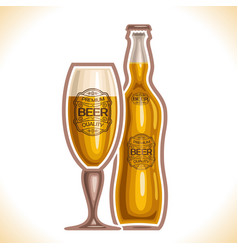 Glass cup and bottle beer vector