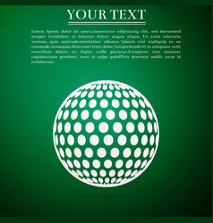 Golf ball flat icon on green background vector